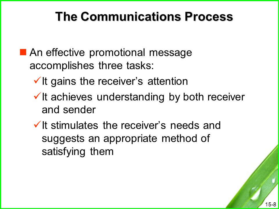 15-8 The Communications Process An effective promotional message accomplishes three tasks: It gains the receiver's attention It achieves understanding