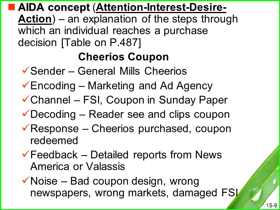 15-9 AIDA concept AIDA concept (Attention-Interest-Desire- Action) – an explanation of the steps through which an individual reaches a purchase decisi