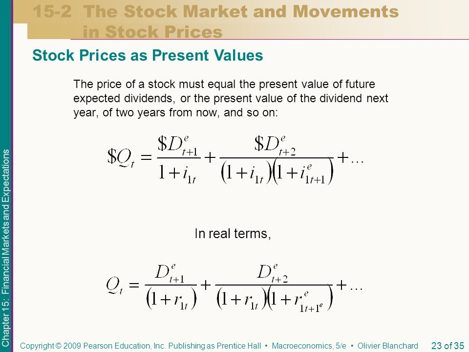 Chapter 15: Financial Markets and Expectations Copyright © 2009 Pearson Education, Inc.