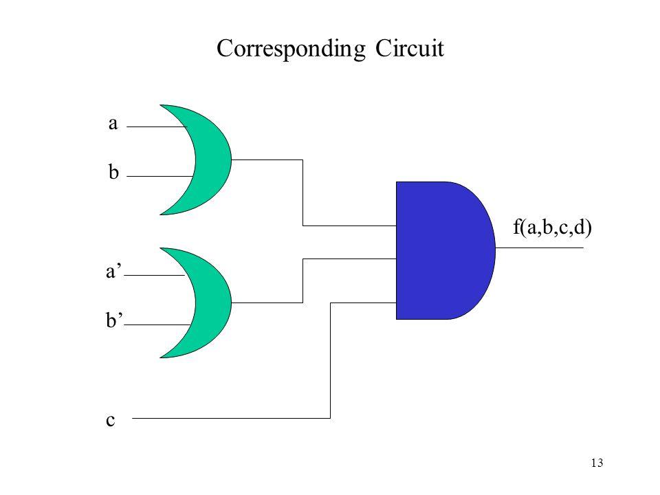 Corresponding Circuit a b a' b' c f(a,b,c,d) 13
