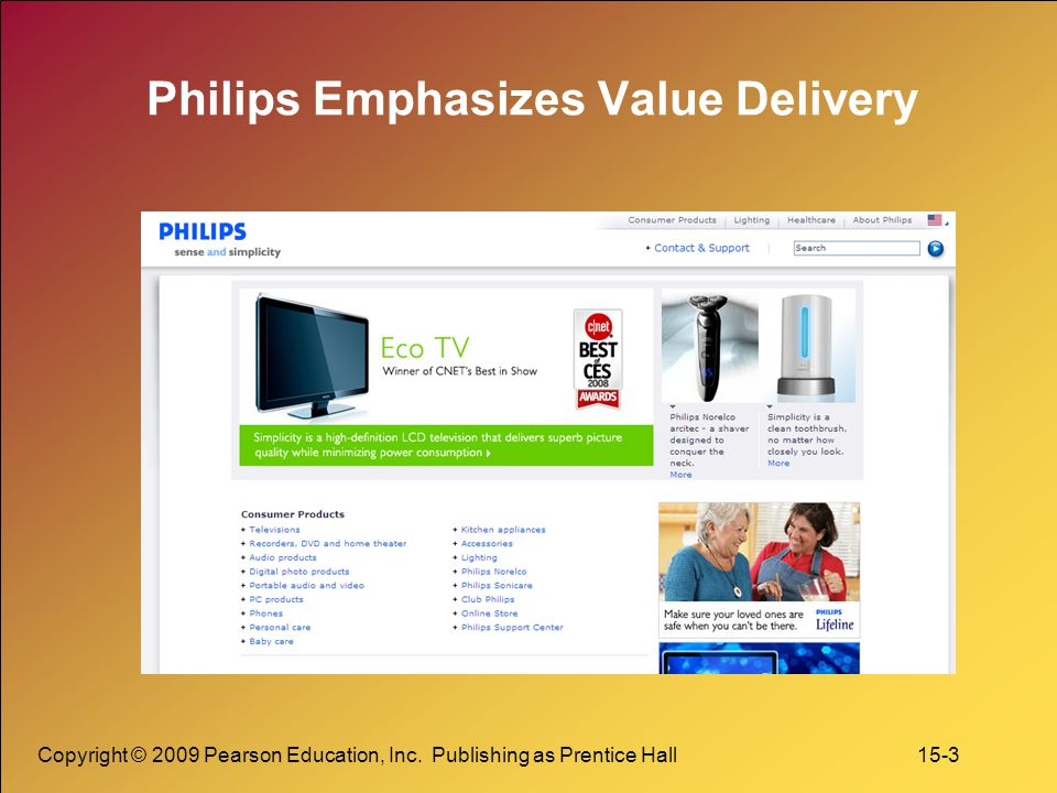 Copyright © 2009 Pearson Education, Inc. Publishing as Prentice Hall 15-3 Philips Emphasizes Value Delivery