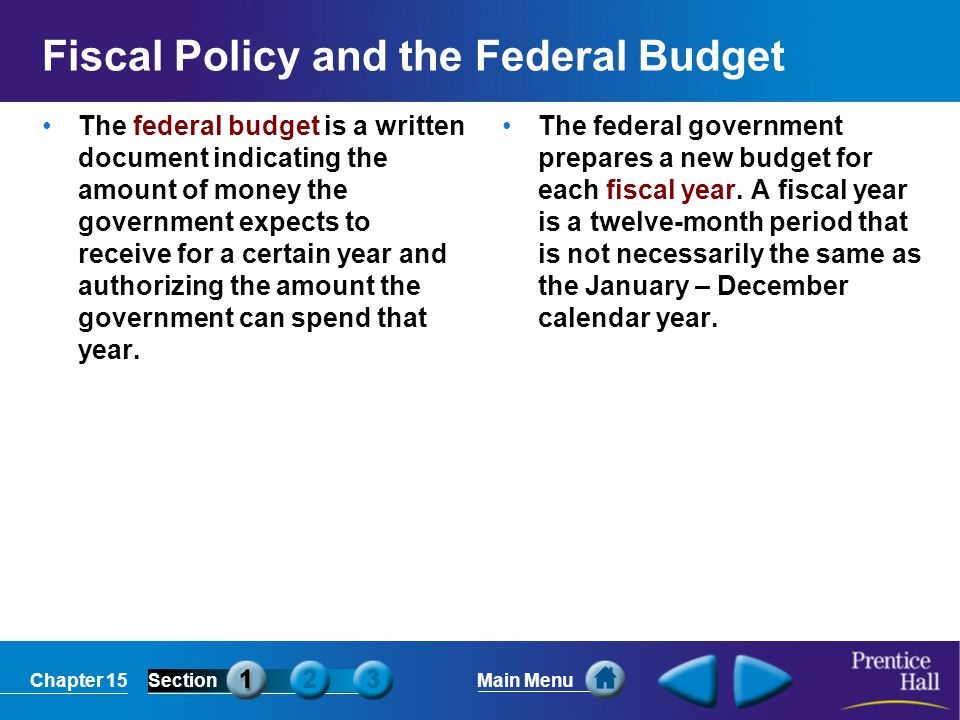 Chapter 15SectionMain Menu The National Debt The Difference Between Deficit and Debt The deficit is amount the government owes for one fiscal year.