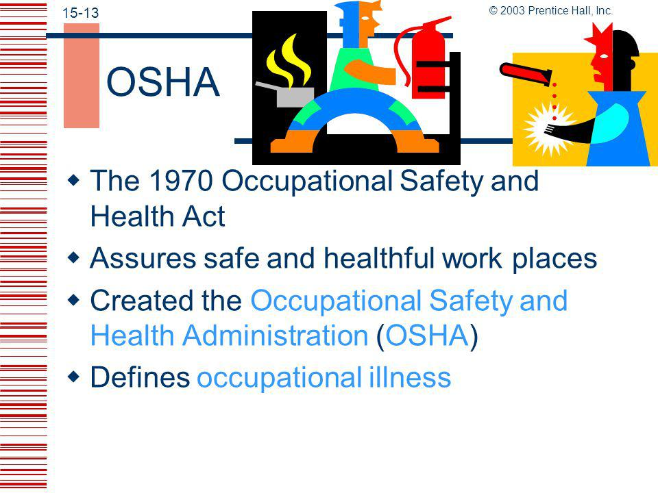 © 2003 Prentice Hall, Inc. 15-12 Why Safety and Health Are Important  The numbers are staggering  Toll can be greater than the numbers suggest consi