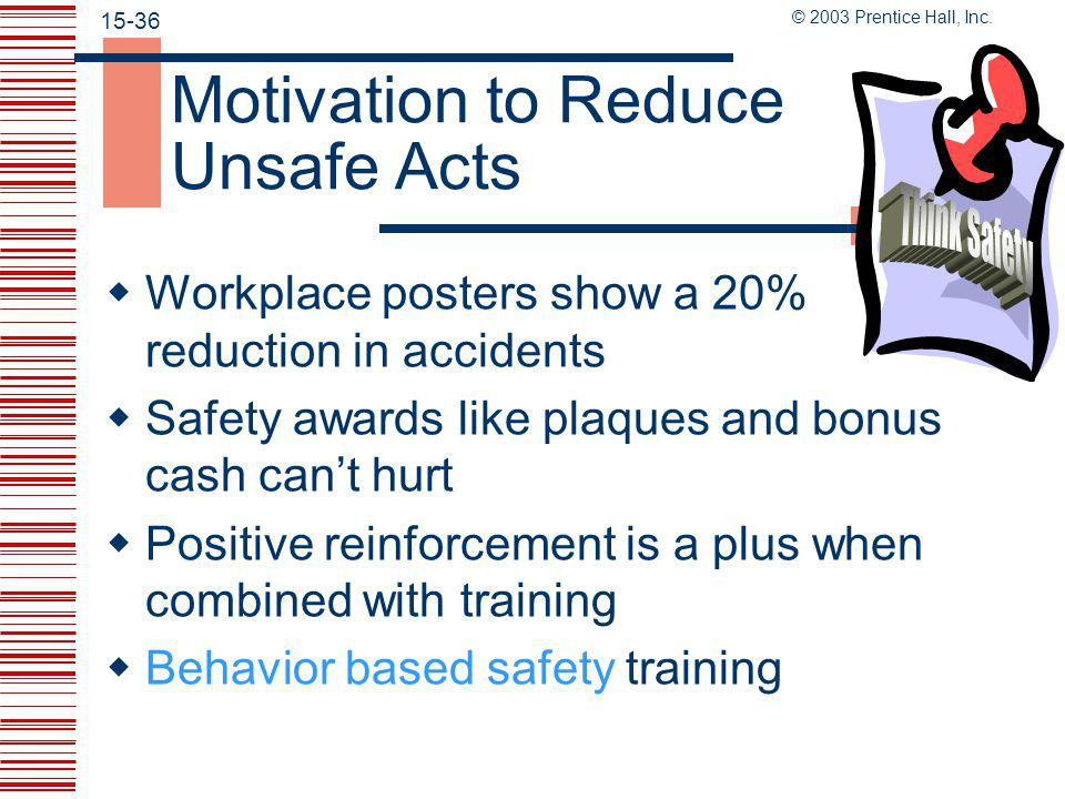 © 2003 Prentice Hall, Inc. 15-35 Reduce Unsafe Acts Through Training  New employees must be trained with safety in mind  Use OSHA and training cours