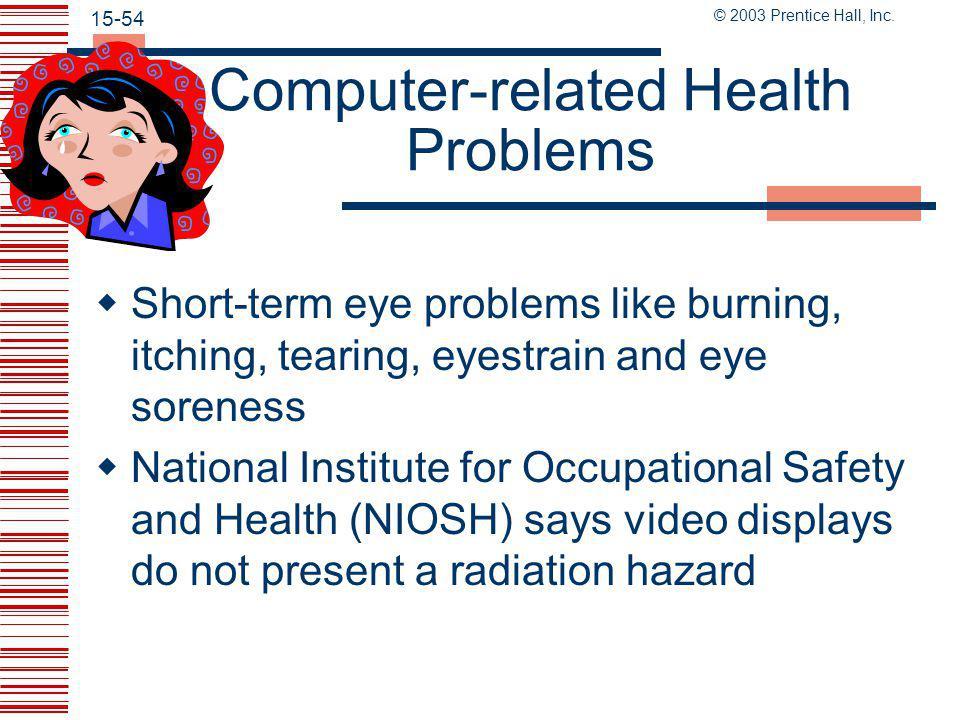 © 2003 Prentice Hall, Inc. 15-53 Asbestos at Work  Sources of occupational respiratory disease: Asbestos, silica, lead, carbon dioxide  OSHA standar
