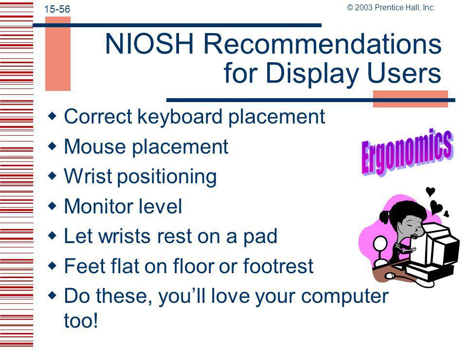© 2003 Prentice Hall, Inc. 15-55 NIOSH Recommendations for Display Users  Rest breaks  Design in maximum flexibility  Reduce glare  A complete pre