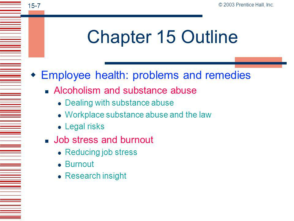 © 2003 Prentice Hall, Inc. 15-6 Chapter 15 Outline Reducing unsafe acts through motivation Behavior-based safety Conduct safety and health inspections