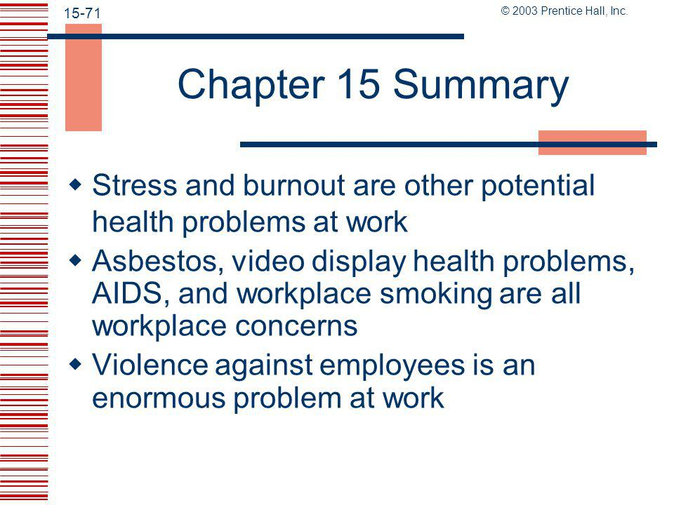 © 2003 Prentice Hall, Inc. 15-70 Chapter 15 Summary  Prevent accidents by reducing unsafe conditions and reducing unsafe acts  Alcoholism, drug addi