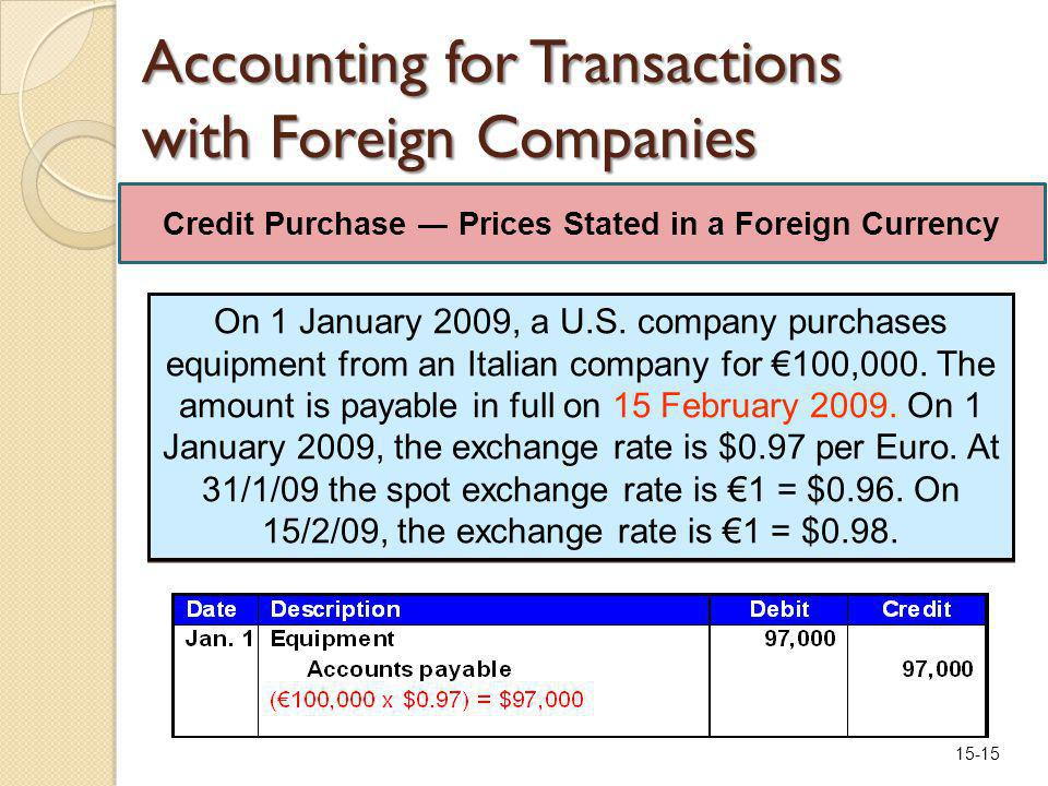 15-15 Accounting for Transactions with Foreign Companies On 1 January 2009, a U.S.