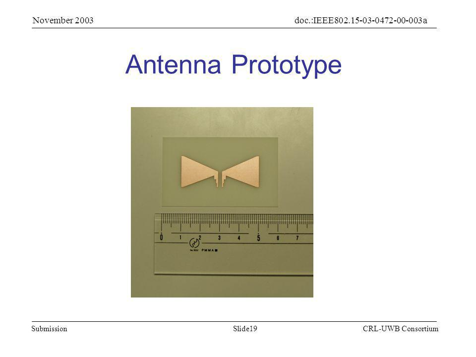 Slide19Submission doc.:IEEE802.15-03-0472-00-003a November 2003 CRL-UWB Consortium Antenna Prototype