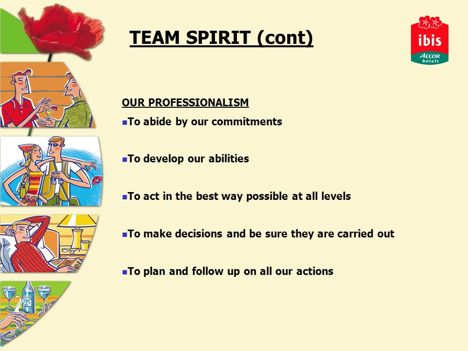 TEAM SPIRIT (cont) OUR PROFESSIONALISM To abide by our commitments To develop our abilities To act in the best way possible at all levels To make decisions and be sure they are carried out To plan and follow up on all our actions