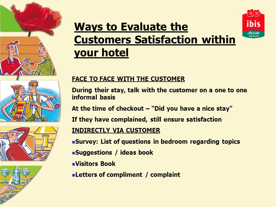 Ways to Evaluate the Customers Satisfaction within your hotel FACE TO FACE WITH THE CUSTOMER During their stay, talk with the customer on a one to one informal basis At the time of checkout – Did you have a nice stay If they have complained, still ensure satisfaction INDIRECTLY VIA CUSTOMER Survey: List of questions in bedroom regarding topics Suggestions / ideas book Visitors Book Letters of compliment / complaint