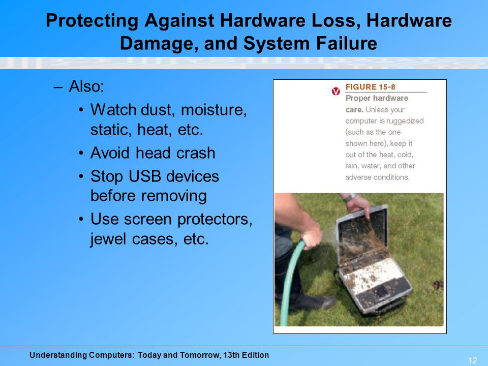 Understanding Computers: Today and Tomorrow, 13th Edition 12 –Also: Watch dust, moisture, static, heat, etc. Avoid head crash Stop USB devices before