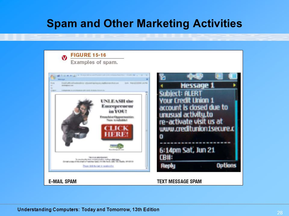 Understanding Computers: Today and Tomorrow, 13th Edition Spam and Other Marketing Activities 28