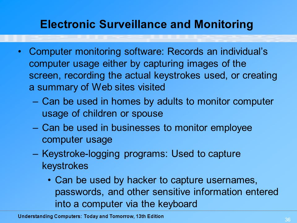 Understanding Computers: Today and Tomorrow, 13th Edition 36 Electronic Surveillance and Monitoring Computer monitoring software: Records an individua