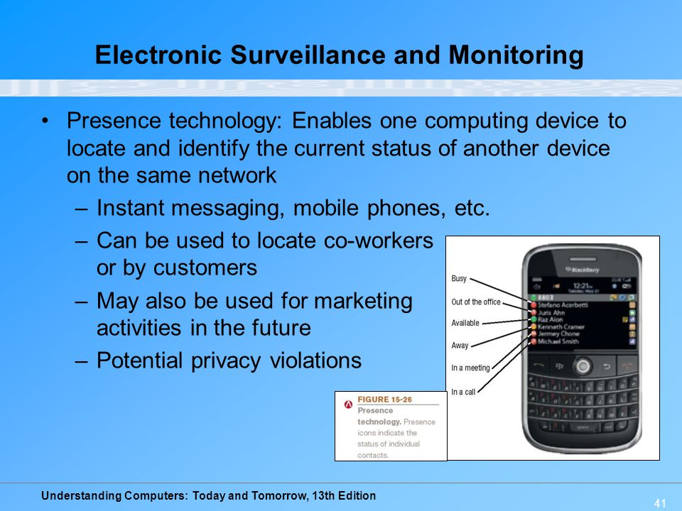 Understanding Computers: Today and Tomorrow, 13th Edition 41 Electronic Surveillance and Monitoring Presence technology: Enables one computing device
