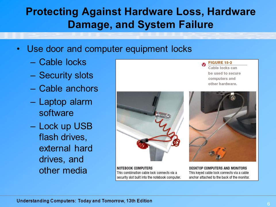 Understanding Computers: Today and Tomorrow, 13th Edition 6 Protecting Against Hardware Loss, Hardware Damage, and System Failure Use door and compute