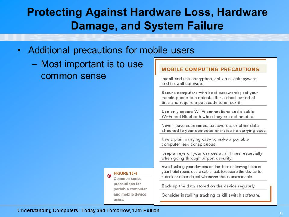 Understanding Computers: Today and Tomorrow, 13th Edition 9 Additional precautions for mobile users –Most important is to use common sense Protecting