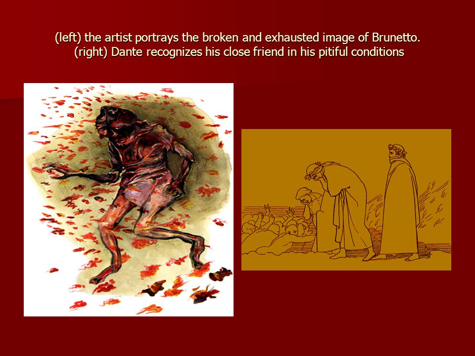 (left) the artist portrays the broken and exhausted image of Brunetto.