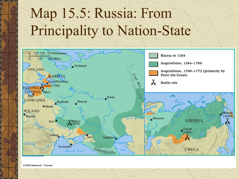 Map 15.5: Russia: From Principality to Nation-State