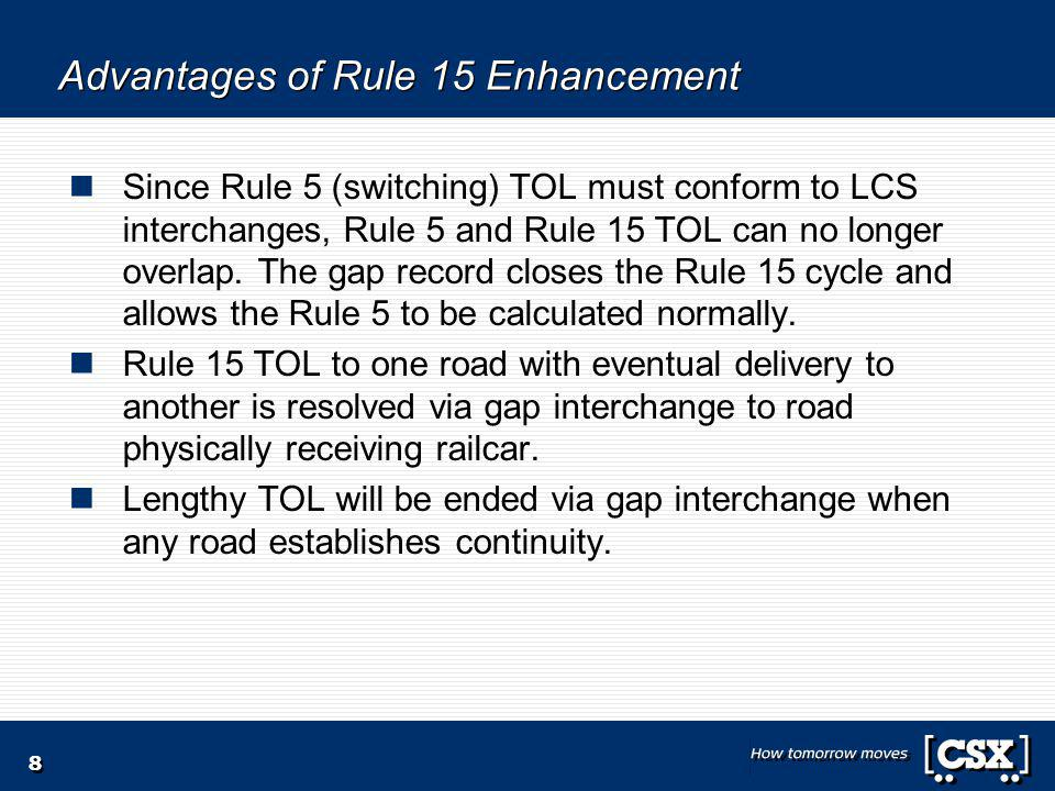 8 Advantages of Rule 15 Enhancement Since Rule 5 (switching) TOL must conform to LCS interchanges, Rule 5 and Rule 15 TOL can no longer overlap.