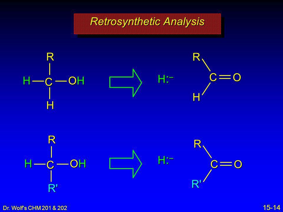 Dr. Wolf's CHM 201 & 202 15-14 H:–H:–H:–H:– H:–H:–H:–H:– CRH OHOHOHOH H CRH O CRH OHOHOHOH R' CRR' O Retrosynthetic Analysis