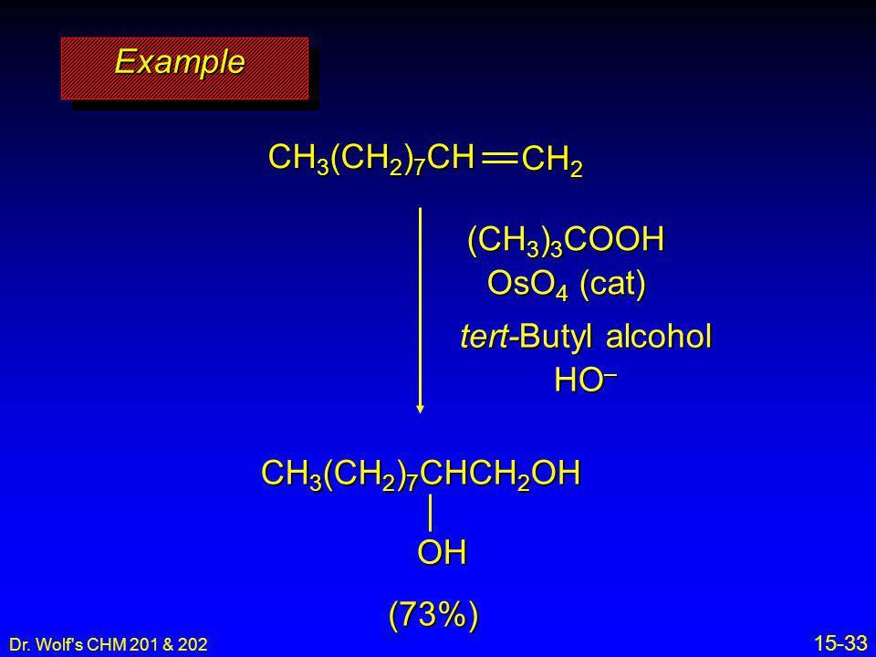 Dr. Wolf's CHM 201 & 202 15-33 (CH 3 ) 3 COOH OsO 4 (cat) tert-Butyl alcohol HO – ExampleExample (73%) CH 2 CH 3 (CH 2 ) 7 CH CH 3 (CH 2 ) 7 CHCH 2 OH