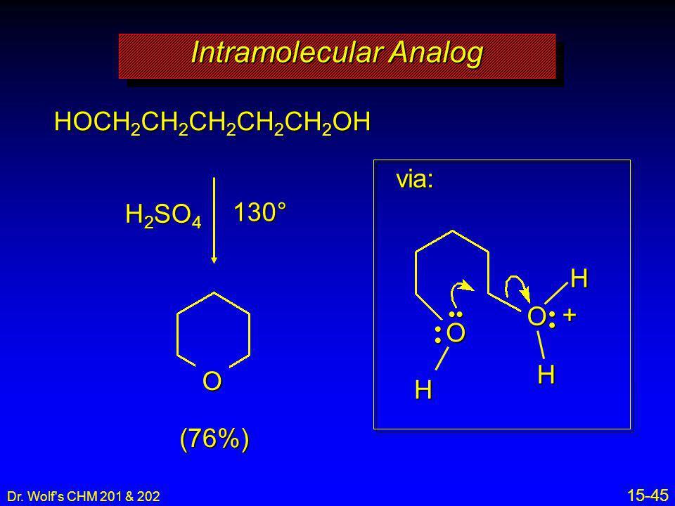 Dr. Wolf's CHM 201 & 202 15-45 Intramolecular Analog HOCH 2 CH 2 CH 2 CH 2 CH 2 OH H 2 SO 4 130° O (76%) via: O H + O H H