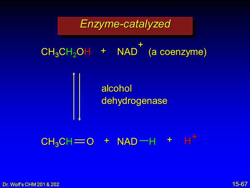 Dr. Wolf's CHM 201 & 202 15-67 alcoholdehydrogenase Enzyme-catalyzedEnzyme-catalyzed CH 3 CH 2 OH + NAD (a coenzyme) ++ ++H NADH CH 3 CH O