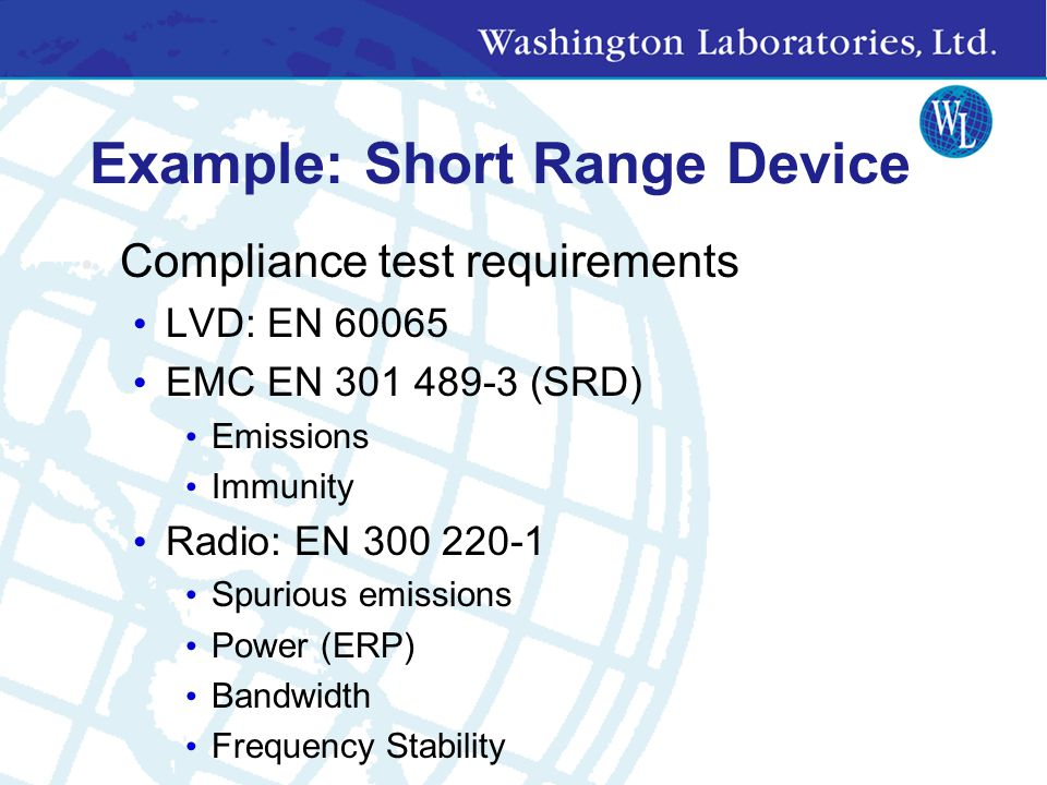Example: Short Range Device at 433MHz CEPT 70-03 Restrictions