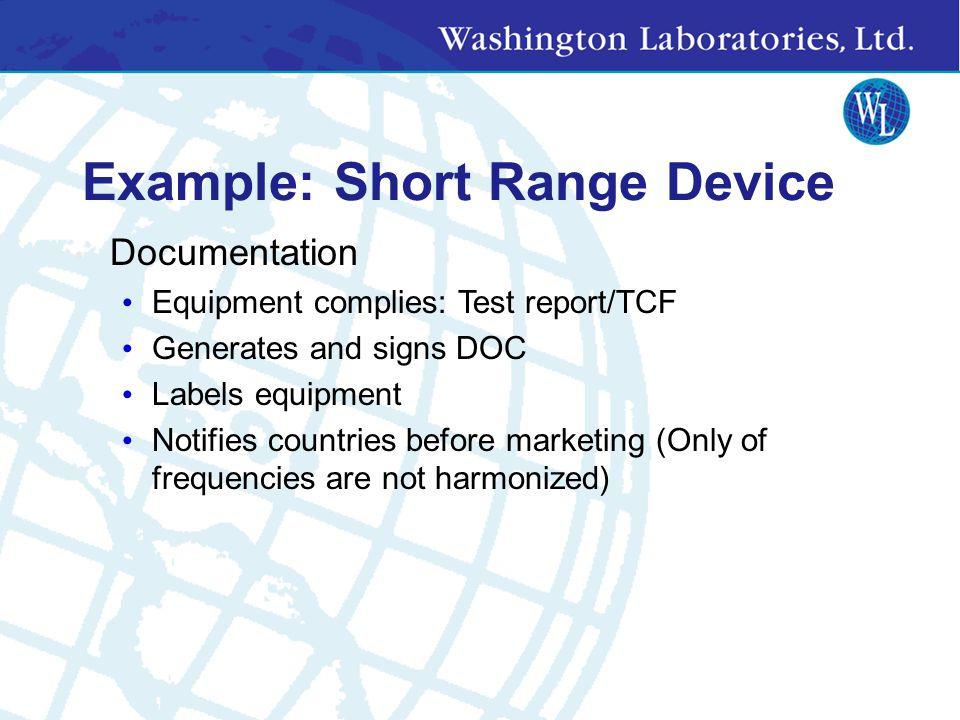 Example: Short Range Device Compliance test requirements LVD: EN 60065 EMC EN 301 489-3 (SRD) Emissions Immunity Radio: EN 300 220-1 Spurious emission