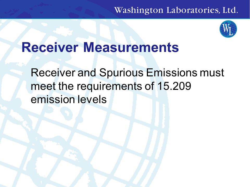 Test Data Required All spurious emission data above 1 GHz taken with average detector, but peak must be provided to show compliance with 15.35(b) Data