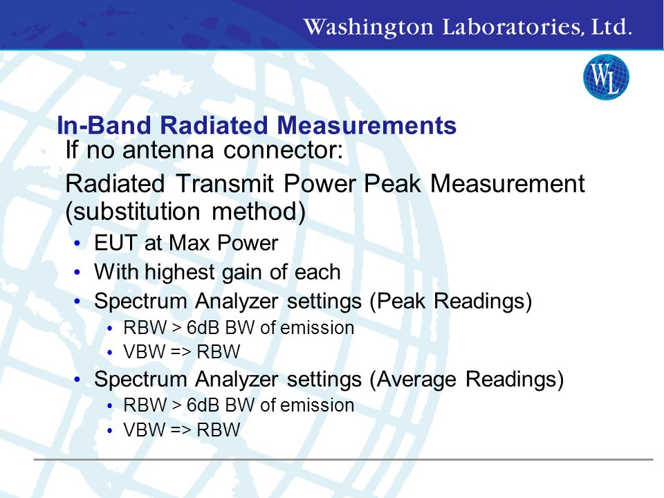 In-Band Measurements 6 dB OBW > 500 kHz