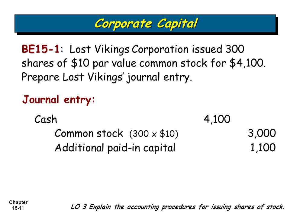 Chapter 15-11 BE15-1: BE15-1: Lost Vikings Corporation issued 300 shares of $10 par value common stock for $4,100. Prepare Lost Vikings' journal entry