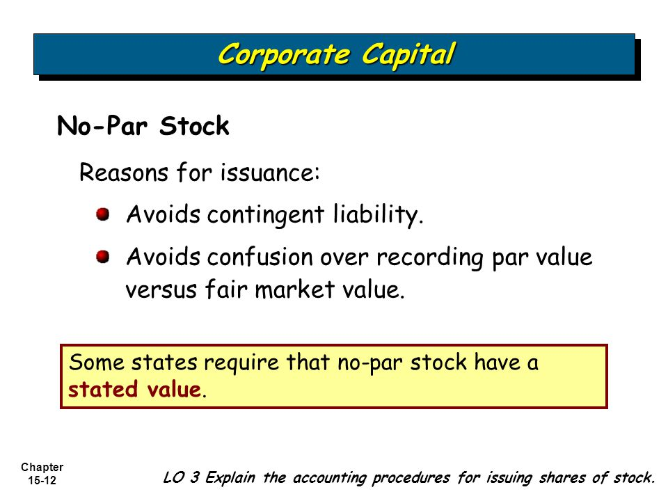 Chapter 15-12 No-Par Stock Reasons for issuance: Avoids contingent liability. Avoids confusion over recording par value versus fair market value. LO 3