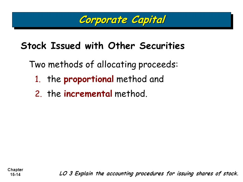 Chapter 15-14 Stock Issued with Other Securities Two methods of allocating proceeds: 1. 1. the proportional method and 2. 2. the incremental method. L