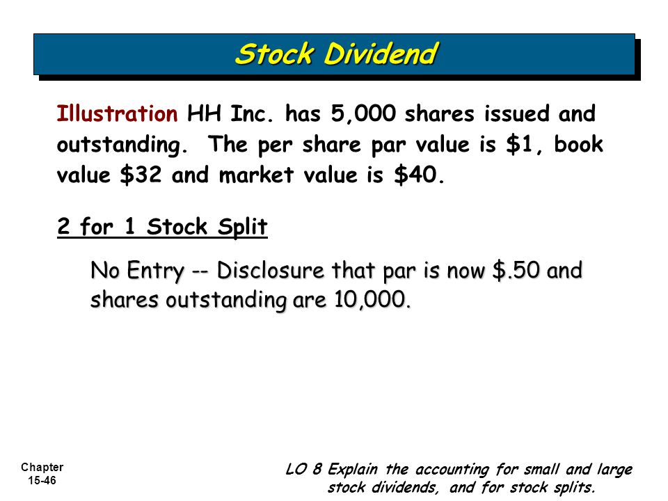 Chapter 15-46 2 for 1 Stock Split No Entry -- Disclosure that par is now $.50 and shares outstanding are 10,000. Stock Dividend Illustration HH Inc. h