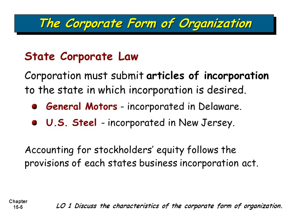 Chapter 15-6 Capital Stock or Share System The Corporate Form of Organization LO 1 Discuss the characteristics of the corporate form of organization.