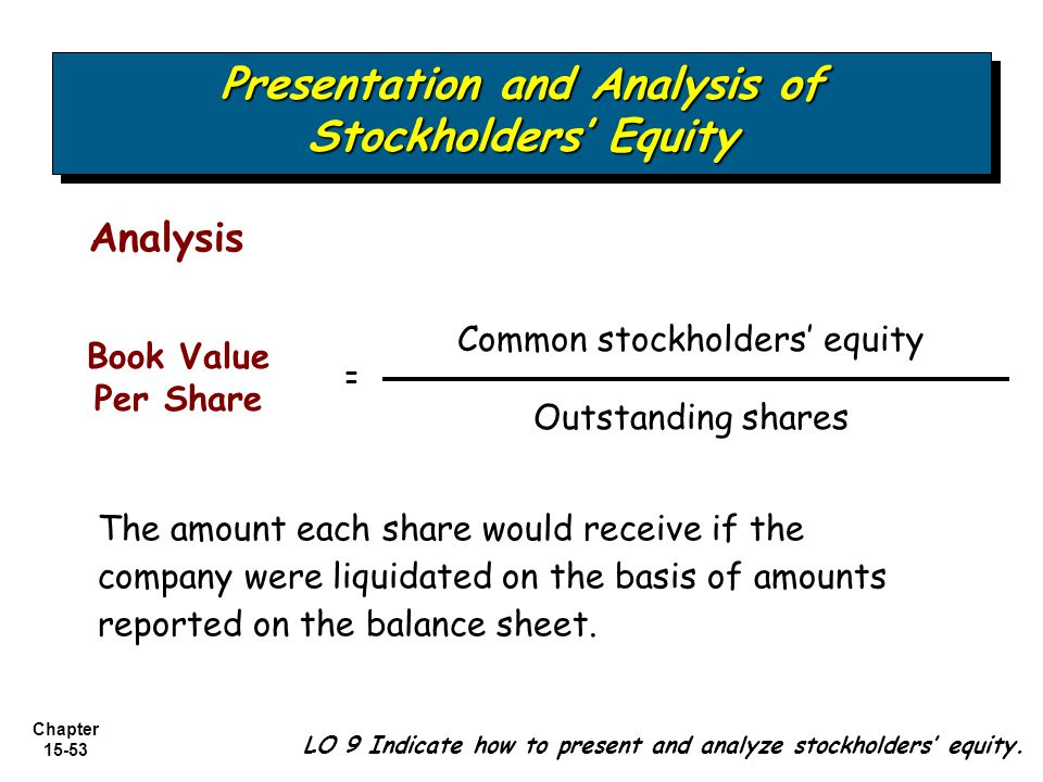Chapter 15-53 The amount each share would receive if the company were liquidated on the basis of amounts reported on the balance sheet. Analysis Commo