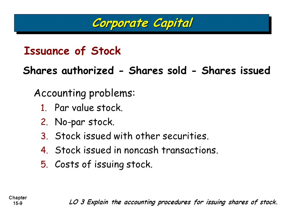 Chapter 15-30 Corporate Capital Common stock (100 x $1) 100 Paid-in capital common (100 x $24) 2,400 Illustration: UC Company originally issued 15,000 shares of $1 par, common stock for $25 per share.