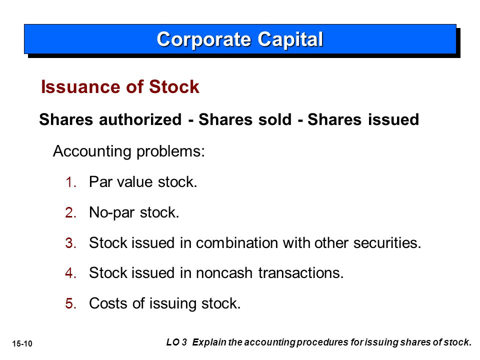 15-10 Issuance of Stock Accounting problems: 1.1.