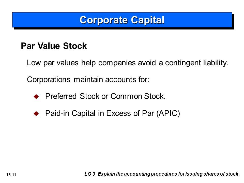 15-11 Par Value Stock Low par values help companies avoid a contingent liability.