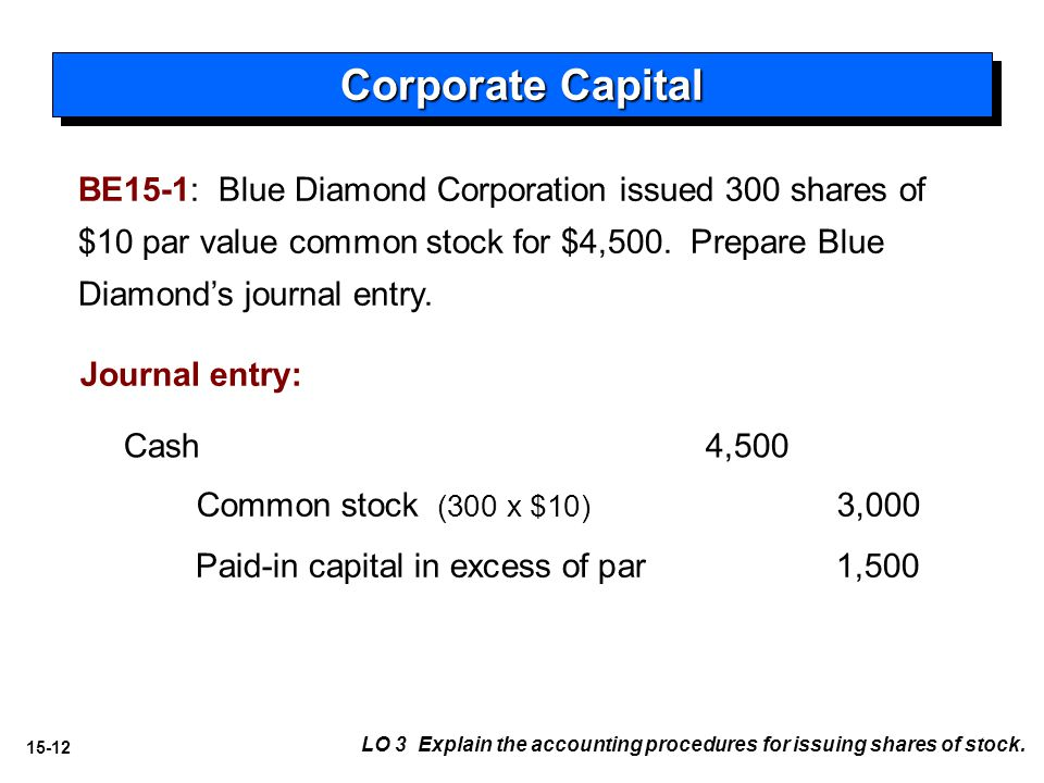 15-12 BE15-1: Blue Diamond Corporation issued 300 shares of $10 par value common stock for $4,500.