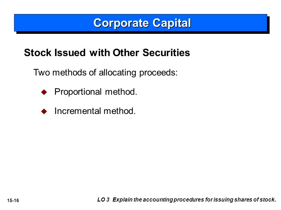 15-16 Stock Issued with Other Securities Two methods of allocating proceeds:   Proportional method.