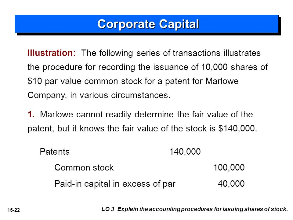 15-22 Illustration: The following series of transactions illustrates the procedure for recording the issuance of 10,000 shares of $10 par value common stock for a patent for Marlowe Company, in various circumstances.