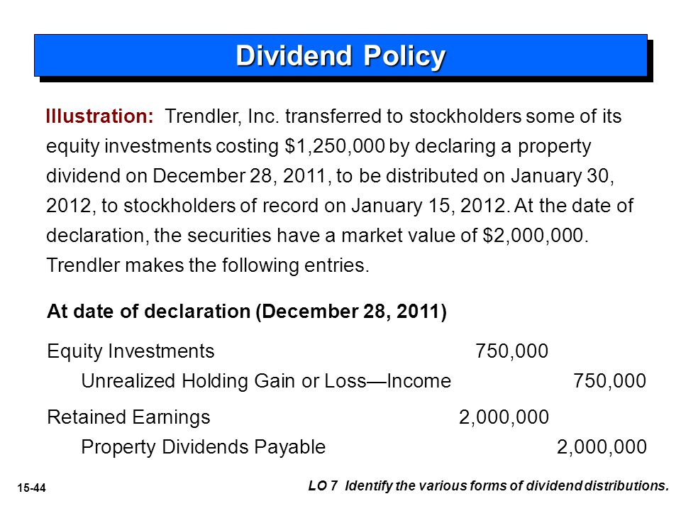 15-44 LO 7 Identify the various forms of dividend distributions.