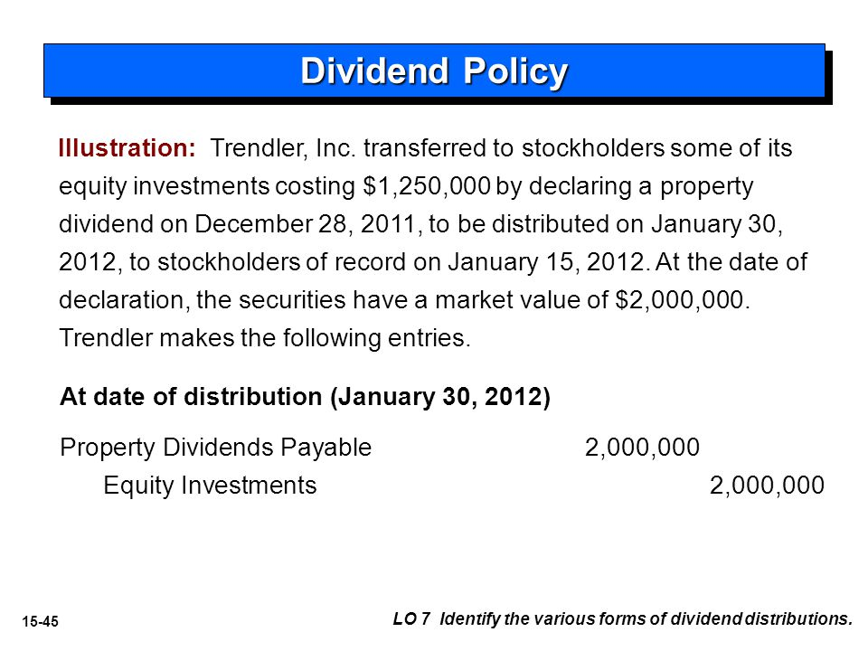 15-45 LO 7 Identify the various forms of dividend distributions.