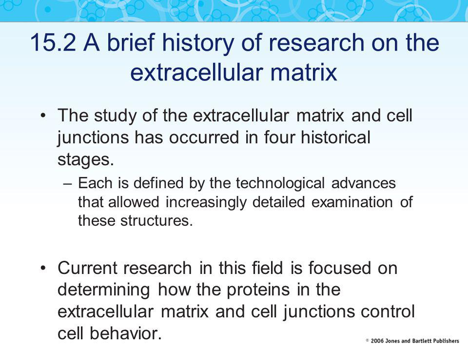 15.2 A brief history of research on the extracellular matrix The study of the extracellular matrix and cell junctions has occurred in four historical