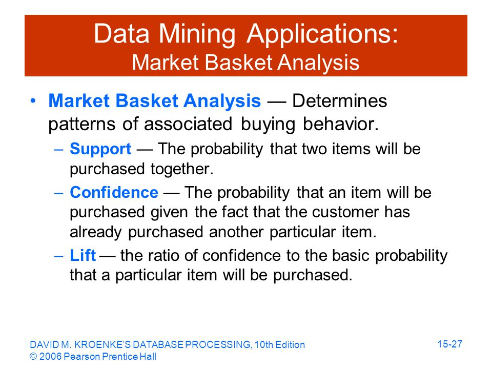 DAVID M. KROENKE'S DATABASE PROCESSING, 10th Edition © 2006 Pearson Prentice Hall 15-27 Data Mining Applications: Market Basket Analysis Market Basket