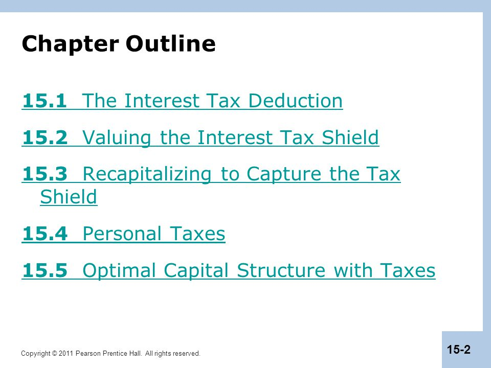Copyright © 2011 Pearson Prentice Hall. All rights reserved. 15-2 Chapter Outline 15.1 The Interest Tax Deduction 15.2 Valuing the Interest Tax Shield
